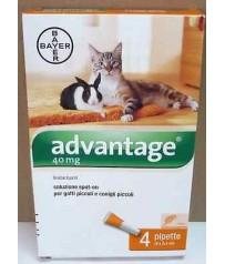 ADVANTAGE 40 mg ANTIPARASSITARIO 4 PIPETTE PER GATTI E CONIGLI PICCOLI  - 4 Kg.