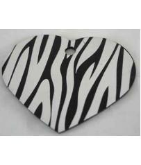 Medaglietta Cani Incisione Gratis Funny Zebra Cuore  Grande Nero cm. 4X3