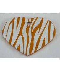 Medaglietta Cani Incisione Gratis Funny Zebra Cuore Piccolo Arancio cm. 2,5x2